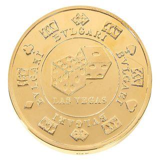 """BVLGARI Bulgari Sterling Silver Oversized Casino Paperweight Coin """"Vegas"""""""