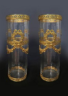 19th C. Pair of Baccarat Crystal & Bronze Vases