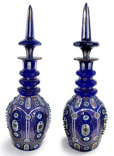 19th C. Persian Qajar Bohemian Ruby Cut-Glass Decanter