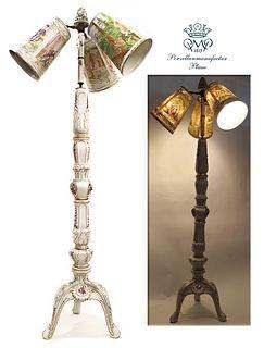 Von Schierholz Hand Painted Porcelain 3 Branches Lamp