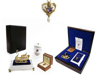FABERGE 14K GOLD & STERLING IMPERIAL JEWELED SLEIGH