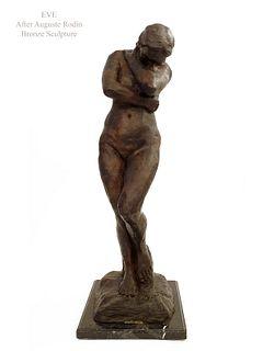 EVE, Large Post Auguste Rodin Bronze Sculpture, Signed