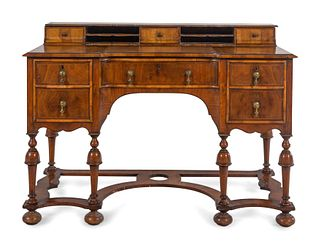 A William and Mary Style Walnut Kneehole Desk