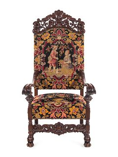 A William and Mary Style Carved Mahogany Armchair
