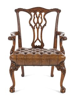 A George II Style Leather Upholstered Mahogany Armchair