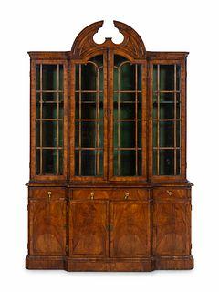 A George II Walnut Breakfront Bookcase