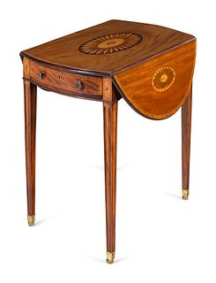 A George III Mahogany, Satinwood and Marquetry Pembroke Table