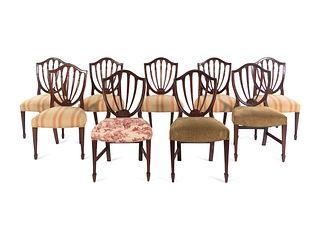 A Set of Nine George III Mahogany Dining Chairs