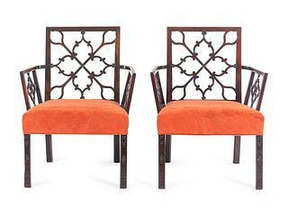A Pair of Chinese Chippendale Mahogany Armchairs