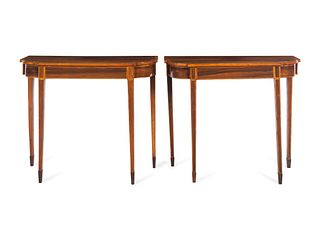 A Pair of George III Style Satinwood-Banded Rosewood Pier Tables