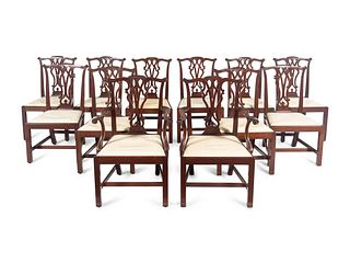 A Set of Twelve Chippendale Style Mahogany Dining Chairs