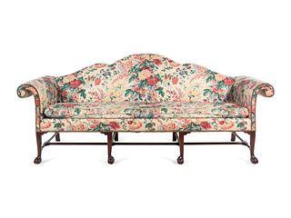 An Irish George III Style Mahogany Camelback Sofa