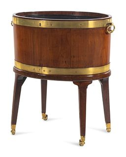 A George III Brass Banded Mahogany Cellarette