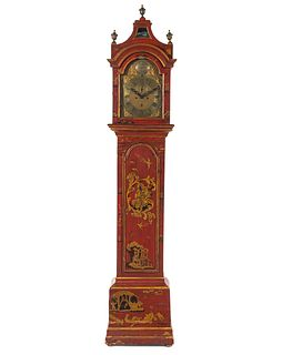 A George III Lacquered Tall Case Clock