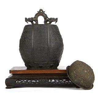 Grp: Chinese Tibetan Bronzes w/ Japanese Stand