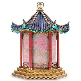Chinese Republic Enameled Gilt Silver Pagoda Caddy