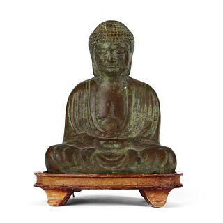 Japanese Bronze Meditation Buddha w/ Stand