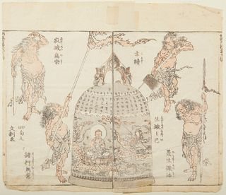 Grp: 2 Hiroshige & Hokusai Japanese Woodblock Prints