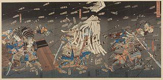 "Utagawa Kuniyoshi ""Last Stand at Shijo-Nawate"" Woodblock Triptych"