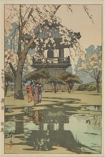 "Hiroshi Yoshida ""In a Temple Yard"" Woodblock Print"