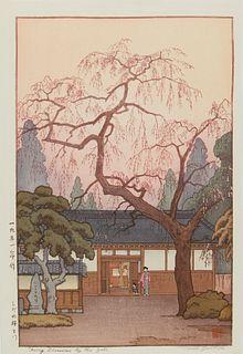 "Toshi Yoshida ""Cherry Blossoms by the Gate"" Print"