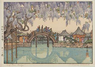 "Toshi Yoshida ""Half Moon Bridge"" Woodblock Print"