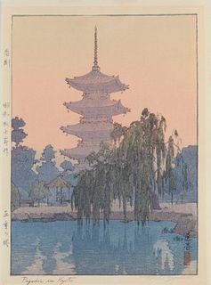 """Toshi Yoshida """"Pagoda in Kyoto"""" Print"""