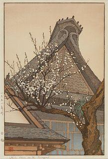 """Toshi Yoshida """"White Plum in the Farmyard"""" Print"""
