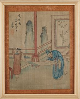 Grp: 2 Japanese Reproduction Prints & 2 Chinese Paintings