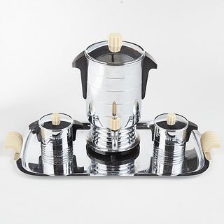 GE Art Deco Chrome Bakelite Coffee Serving Set