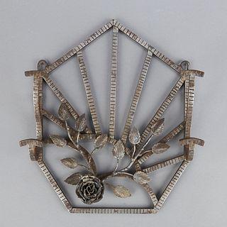 French of Belgium Hand Wrought Iron Hat Rack