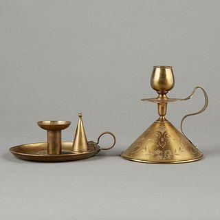2 Arts & Crafts Brass KSIA Pairpoint Candlesticks