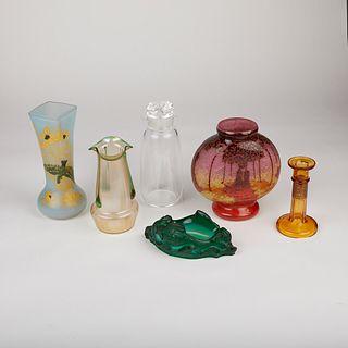 Grp: 6 Deco Art Glass Vases Candlestick & Decanter