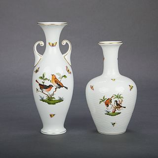 Grp: 2 Herend Hand Painted Porcelain Vases