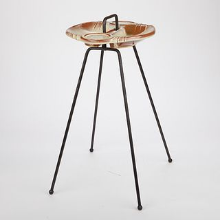 1950s Frankoma Pottery Metal Drink Stand Mid Century Modern