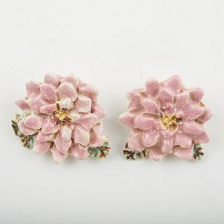 Overbeck Pottery Marked Flower Jewelry Brooches