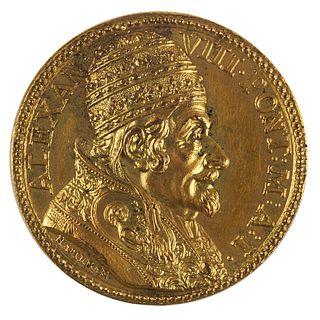 Alexander VIII Gilt Bronze Papal Medal Scudo 1690 - Hamerani