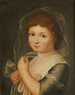 19th c. French School Portrait of Girl Painting