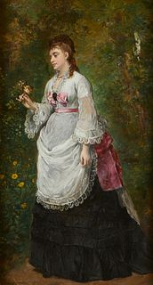 19th c. Portrait of Lady w/ Rose Oil on Board