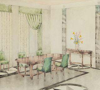 Pair of William Yungbauer Interior Design Paintings
