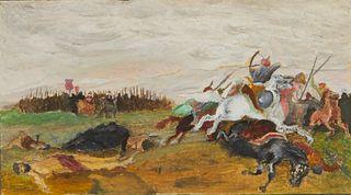 """20th c. """"Battle of the Vorskla River"""" Gouache Painting"""