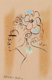 Karl Priebe Female Portrait Painting on Print