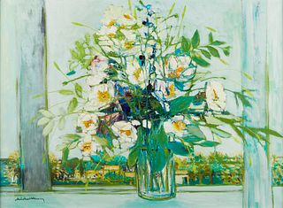 """Michel Henry """"Anemones Blanches"""" Still Life Painting"""