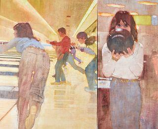 "Bernie Fuchs ""Bowling"" Oil on Canvas Diptych"