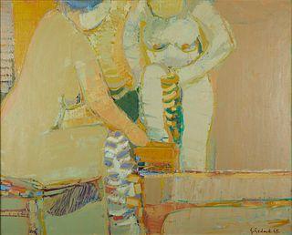 """Gabriel Godard """"Femmes a la Toilette"""" Oil on Canvas"""