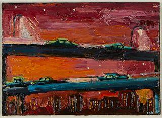 "Carlos Almaraz ""Traffic in Red"" Oil on Board"