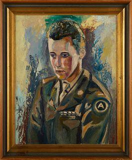 Duncan Grant Portrait of Soldier Oil on Board