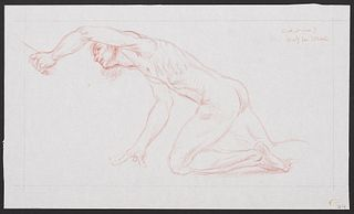 """Paul Cadmus """"Study for Spring"""" Crayon on Paper"""