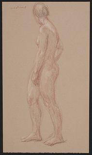 Paul Cadmus Female Nude Crayon on Paper