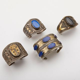 Grp: 4 Turkmen & Afghani Silver Bangle Cuffs